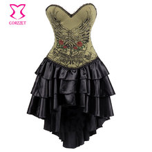 Vintage Army Green Floral Pattern Straps Steampunk Corset Dress Burlesque Costumes Sexy Corsets and Bustiers Gothic Clothing