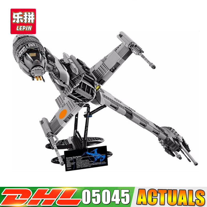 2017 DHL Lepin 05045 Star 1487pcs Genuine War Series The B Starfighter wing Educational Building Blocks Bricks Toys 10227 lepin 05040 y attack starfighter wing building block assembled brick star series war toys compatible with 10134 educational gift