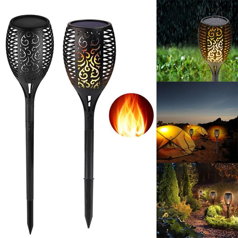 Garten & Terrasse Fein Solar Garten Tiki Taschenlampe 96 Led Flackernder Pfad Tanzende Flammen Lichter