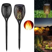 Lampe LED solaire à 51, 72 ou 96 LED, imperméable, lumière en forme de flamme vacillante, éclairage d'extérieur, luminaire décoratif de paysage, décoration pour jardin