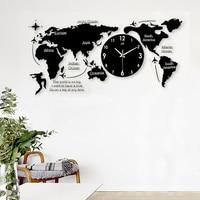 Northern Europe Style Acrylic World Map Shape Clock Needle Quartz Mute Creative Wall Clock Living Room Decoration Adornment Gift