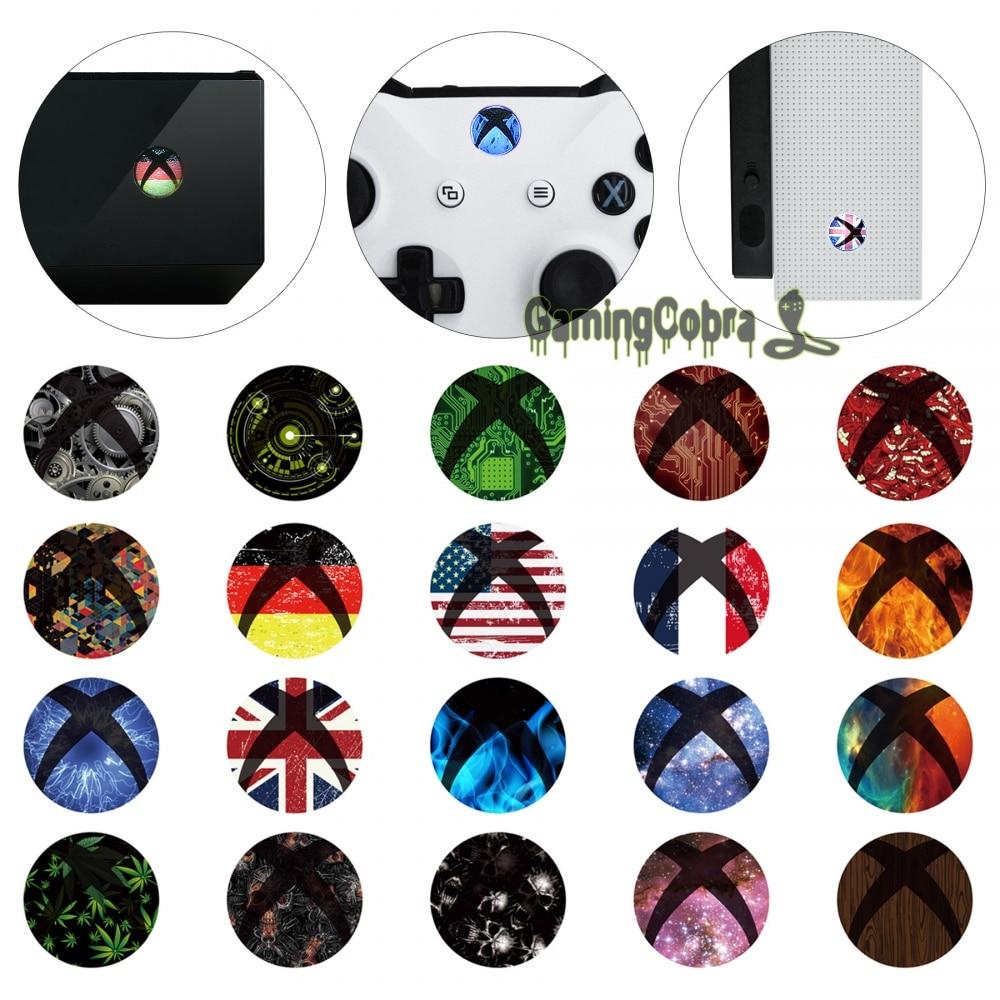 30 пар кожи Стикеры Наклейка Home Мощность переключатель Пуговицы для Xbox One S для Xbox One X консоли контроллера