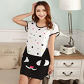 Fashion Animals Cartoon Women's Polka Dot Short Sleeve Nightgown Sleepwear Nightdress Women Lady Soft Clothing Kawaii