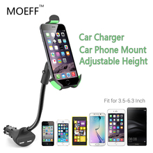 Universal Car Mobile Phone Holder Stand Soporte Movil Car Mount Charger 3.1A 2 Ports USB  For Iphone 5 6plus 7 Samsung 3.5-6.3in