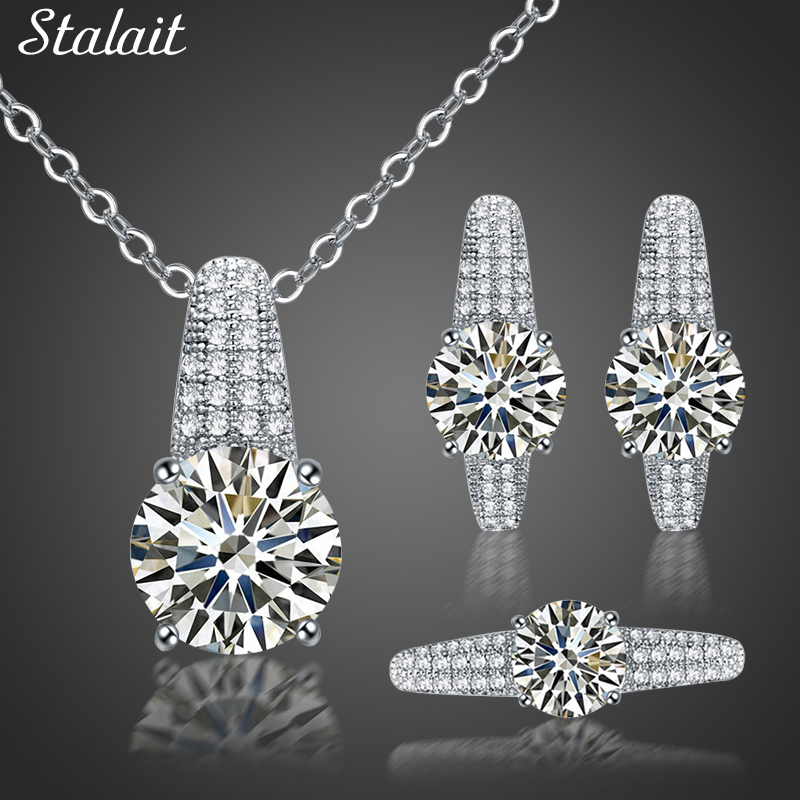 Silver Color Cubic Zirconia Jewelry Sets For Women Full -6935