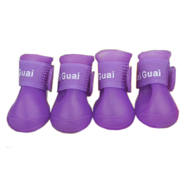SZS Hot Purple Pet Shoes Booties Rubber Dog Waterproof Rain Boots S,M,L