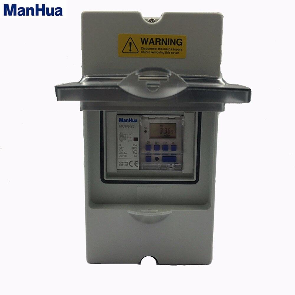Manhua monophasé étanche IP65 climatisation précise sûre MT151C-25 minuterie numérique interrupteur boîte de contrôle