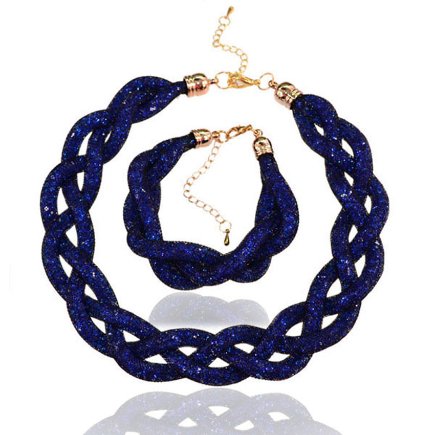 цена на Discount season imitation jewelry set mesh rope crystal necklace 3 strands braided bracelet imitation jewelry