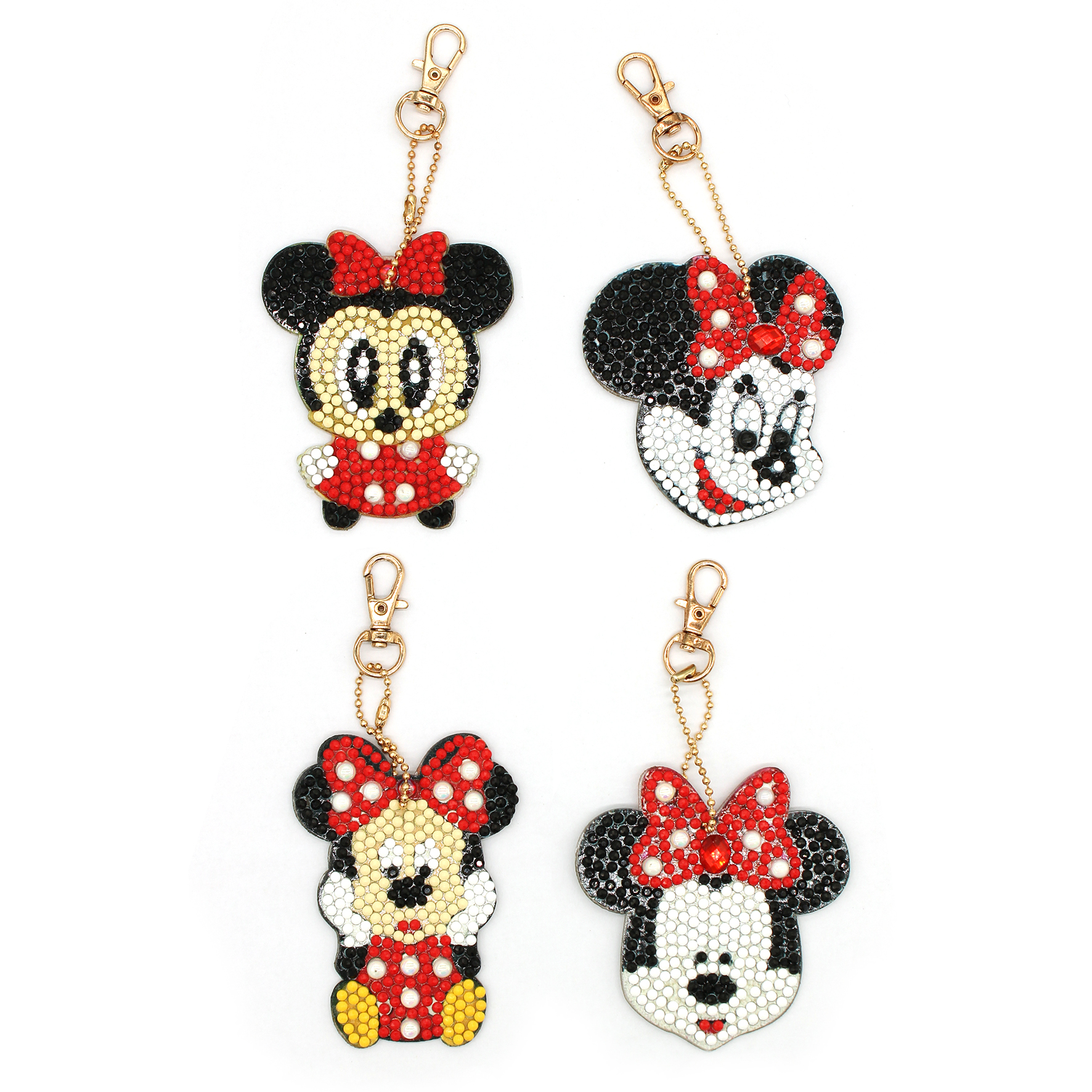 Shirliben Bag Ornaments Diy Crafts Minnie Mickey Mouse Diamond Painting Keychain 4pcs Diamond Mosaic Woman Girl Keyring MK001