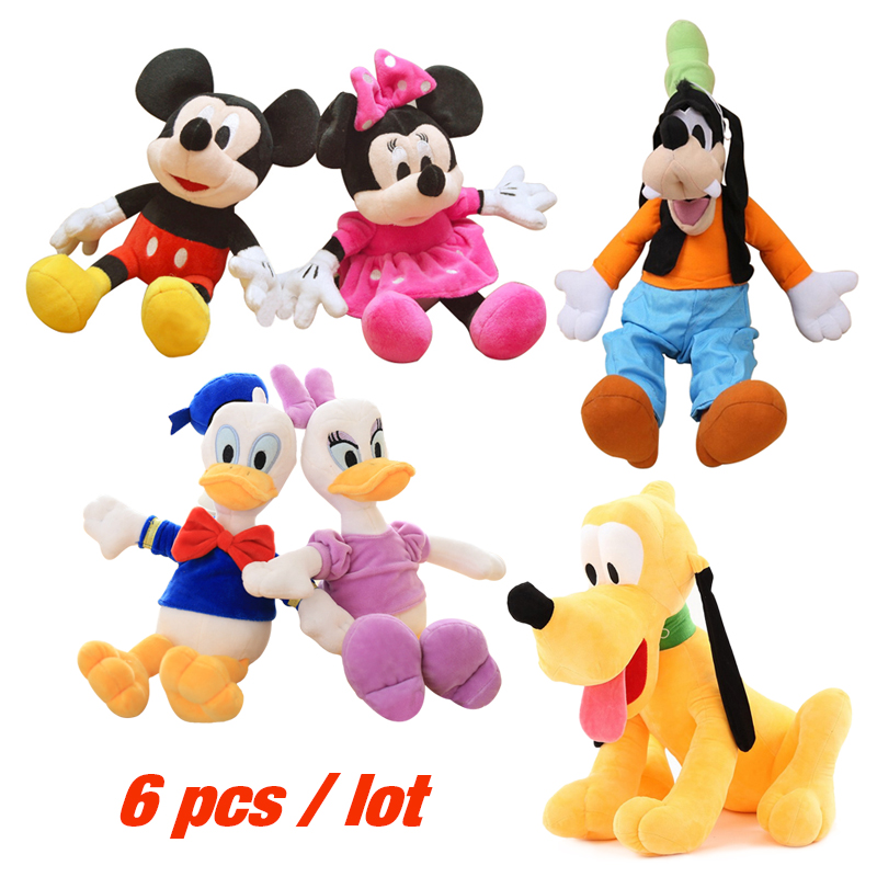 цена на 6pcs/lot 30cm Mickey and Minnie Mouse,Donald Duck and Daisy,GOOFy Dog, Pluto dog Cartoon Figure Plush Toys Kids Funny Doll Gift