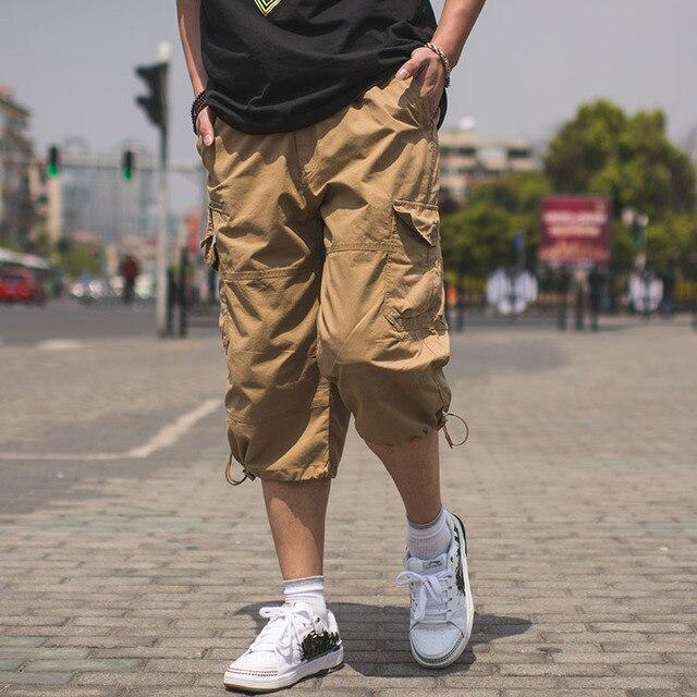 New Brand Mens Summer Casual Shorts Male Multi Pockets Cargo Shorts Men Elastic Waist Bermuda Masculina Knee Length Breeches