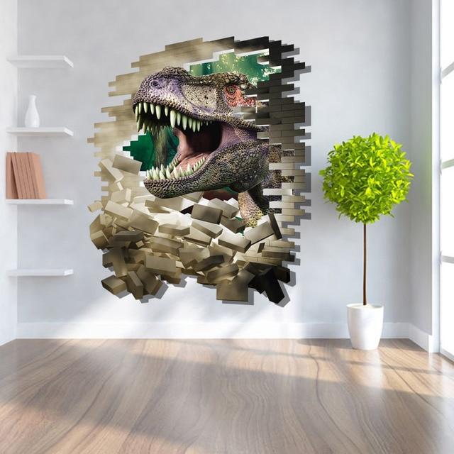 Dinosaurus Pas Al 3D Kids Slaapkamer Muurstickers Gebroken Muur PVC ...