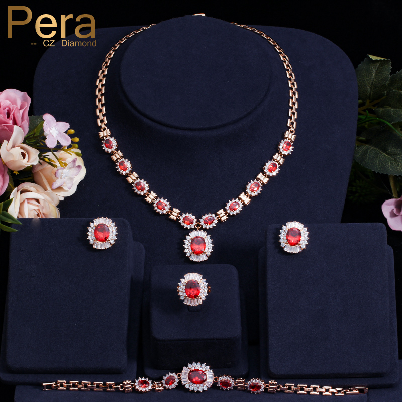 Pera Noble Gold Color Red Cubic Zirconia Stone Necklace Bracelet Earrings Ring 4 Piece Wedding Party Jewelry Sets For Women J088 a suit of gorgeous rhinestoned flower necklace bracelet earrings and ring for women