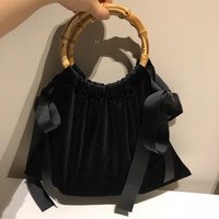 Retro Casual Velour Totes New South Korean Large Capacity Velvet Shoulder Bag Environmental Bamboo Round Hand Black Handbag