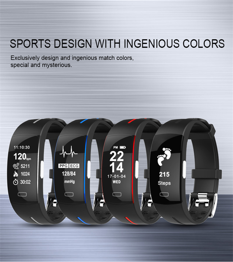 <font><b>P3</b></font> ECG PPG <font><b>Smart</b></font> <font><b>Band</b></font> Watch Bracelet Blood Pressure Heart Rate Fitness Tracker monitor Sport Pedometer IP67 Waterproof Wristband image