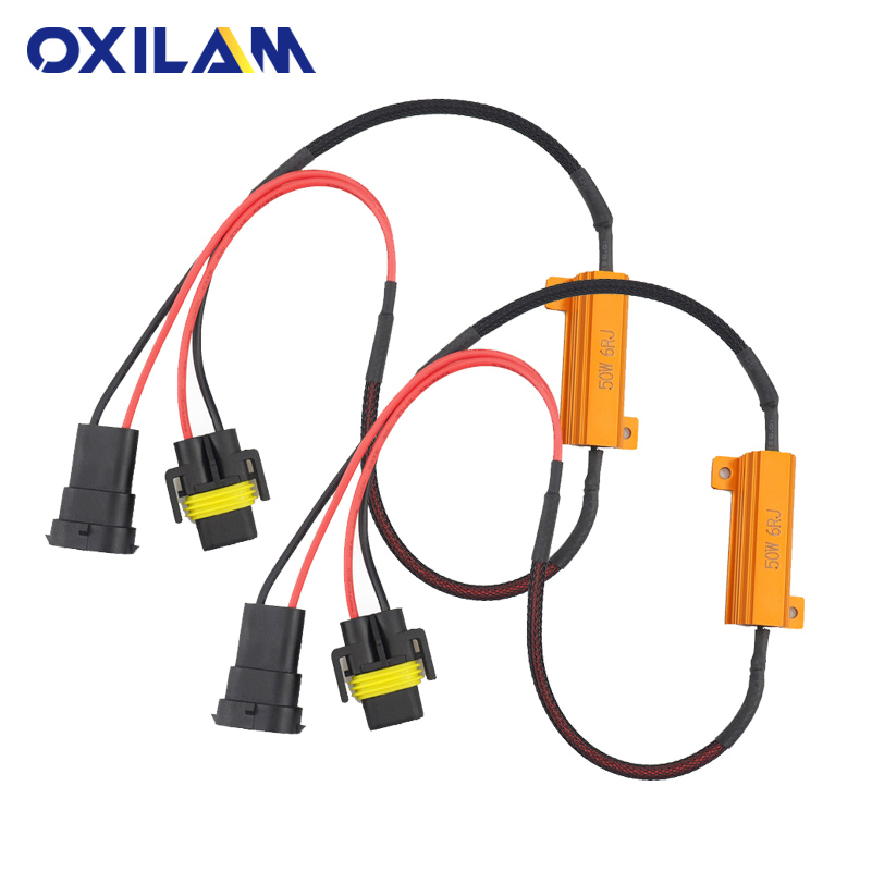 OXILAM 2Pcs 50W 6RJ H8 H11 9005 9006 HB3 HB4 Car Fog Lamps Decoder Error Warning Resistance Headlight Load Resistor LED Canbus