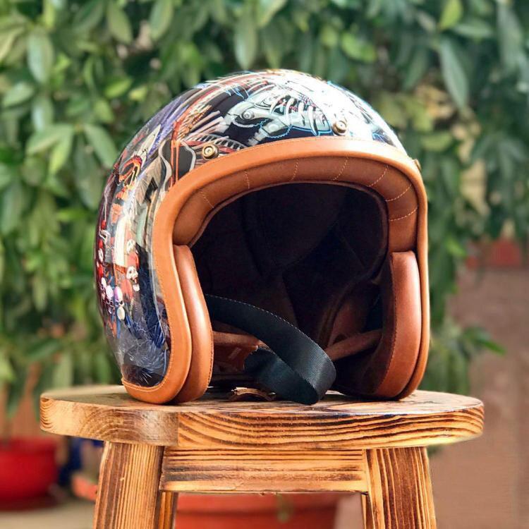 Cara durão Buda Vivo Jigong Capacetes Do Vintage Arte Pintada Equitação Capacete 3/4 Cara Aberta Certificação DOT