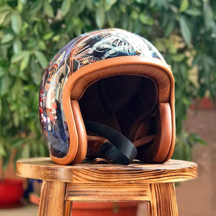 THH tipo duro Buda viviente Jigong cascos Vintage primavera y otoño Riding casco pintado 3/4 cara abierta punto
