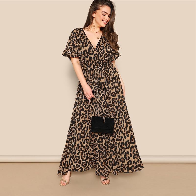 0f83b6f65d446 🛒 Sheinside Plus Size V Neck Wrap Party Dress Women 2019 Summer ...