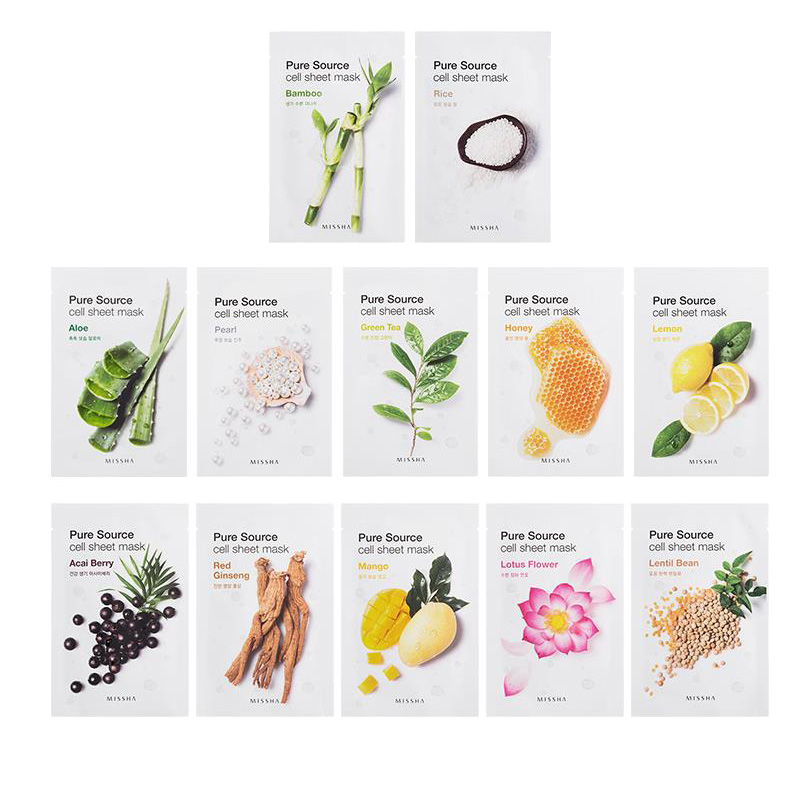 MISSHA Pure Source Cell Sheet Mask Face Care Blackhead Removal Sebum Control Acne Treatment Whitening Facial Mask Korea Cosmetic