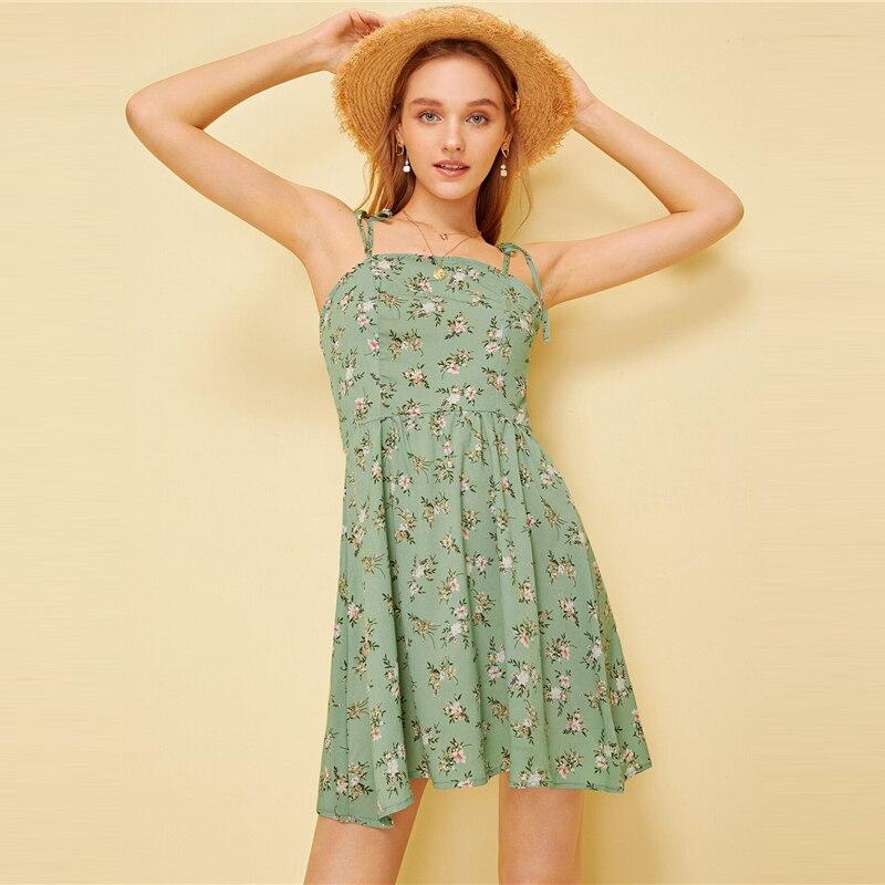 Green Pastel Ditsy Floral Self Tie Shoulder Dress 1