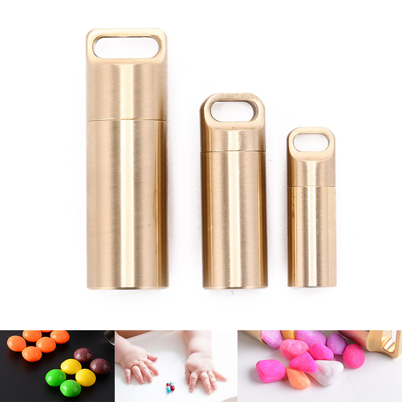 Waterproof Capsule Shape Aluminum Pill Case Keychain Outdoor Pocket Pill Holder Container Delicate Seal Medicine Organizer Box