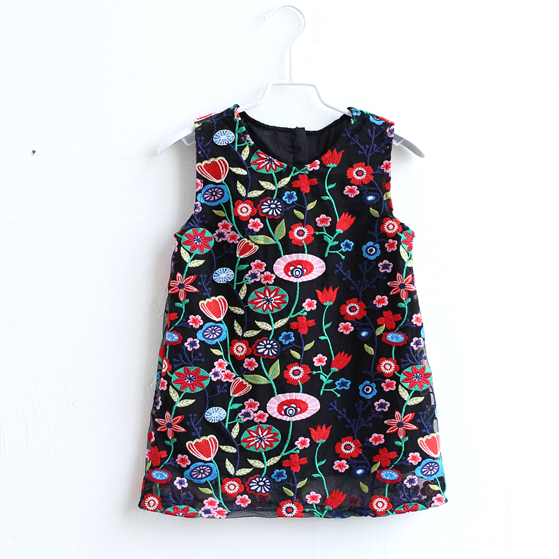 Summer mini-me kids girls floral embroidery lace customized A-line party dress family match outfit mother daughter full dresses see thru mini lace dress