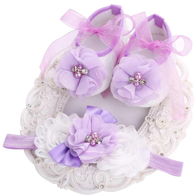 Baby Girls Satin Lace Toddler Shoe Newborn Christening Baptism Infant Shoes Headband Set,Cute Flower Sapatinhos De Bebe Menina