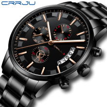 Mens Watches CRRJU Top Brand Waterproof Sports Watch