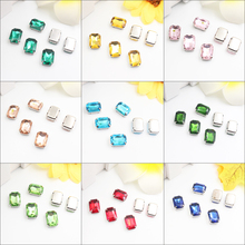 Rectangle Colorful Glass Sew On Rhinestones With Claw Crystal Rhinestone Loose Flatback Glitter Stones For Garment