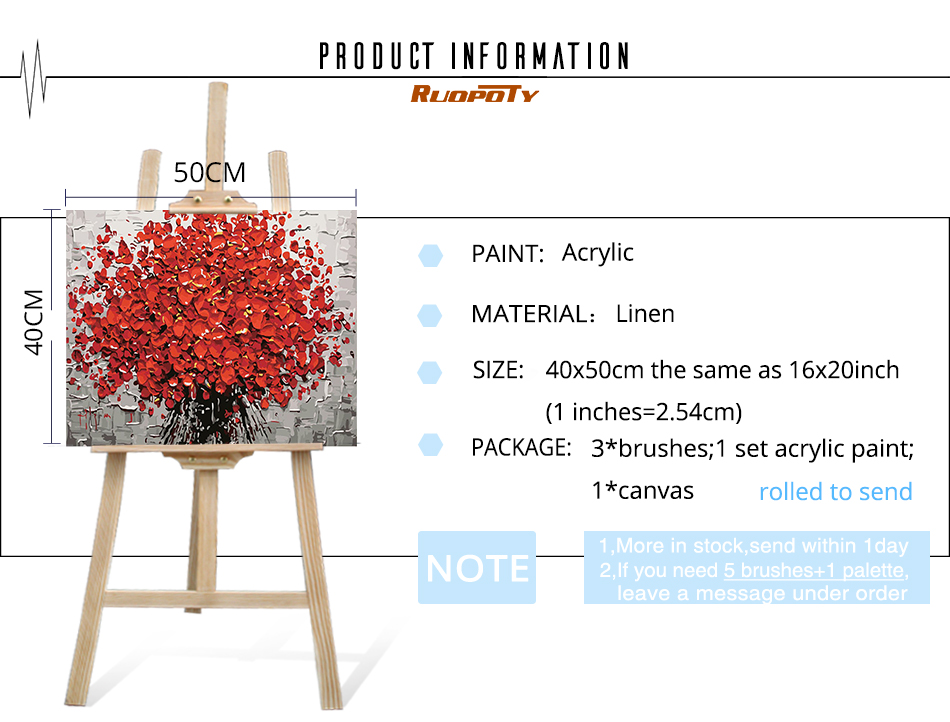 Ruopoty çerçeve Kırmızı çiçekler Diy Boyama By Numbers Tuval Duvar