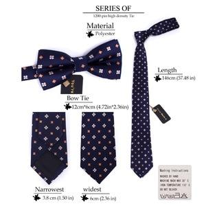 Image 4 - 3 PCS Men NeckTie Set Bowtie Slim Necktie high quality Slim Skinny Narrow Men Tie dress Handkerchief Pocket Square Suit Set