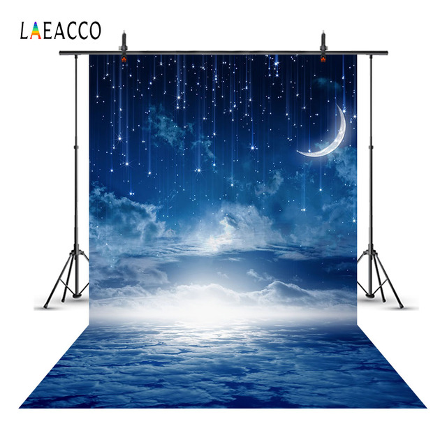 Laeacco Moon Starry Meteors Cloudy Night Sky Scenery Baby Photography Backgrounds Custom Photographic Backdrops For Photo Studio