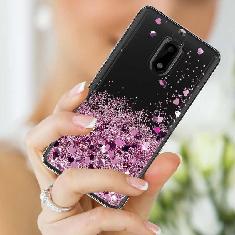 YISHANGOU حافظة لهاتف نوكيا 3 5 6 6.1 2018 قلوب جميلة نجوم السائل الرمال المتحركة بريق حالات لنوكيا 6 8 7 Plus غطاء ناعم واضح
