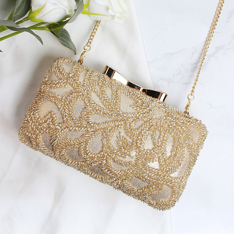 Women Bag Flap Evening Bags Pearl Embroidery Beading Satin Party Bags Champagne Color Chain Shoulder Female Frame Handbags