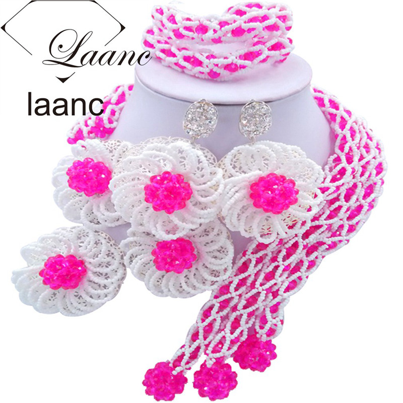 Laanc Fashion Fuchsia Pink and White Flower Nigerian Wedding African Beads Jewelry Set Crystal FBFE010Laanc Fashion Fuchsia Pink and White Flower Nigerian Wedding African Beads Jewelry Set Crystal FBFE010