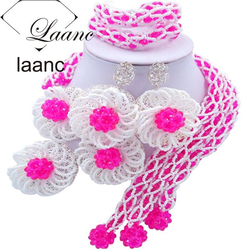 Laanc Fashion Fuchsia Pink and White Flower Nigerian Wedding African Beads Jewelry Set Crystal FBFE010