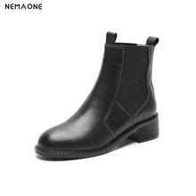 NemaoNe Women Genuine Leather Boots western Ankle Boots Fashion Chelsea Low Heels Ladies Booties Spring 2018 Ladies Shoes