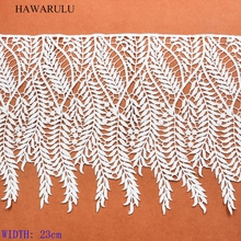 HAWARULU 1yard 23cm New high-end leaf water-soluble lace hollow-out ribbon DIY african fabric gift wedding decoration