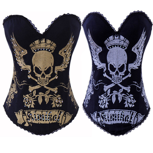 c6652a446 Hot Sexy Women Corsets Bustiers Gothic Steampunk Waist Cincher Skull Corset  overbust Fashion Corselet Party Club