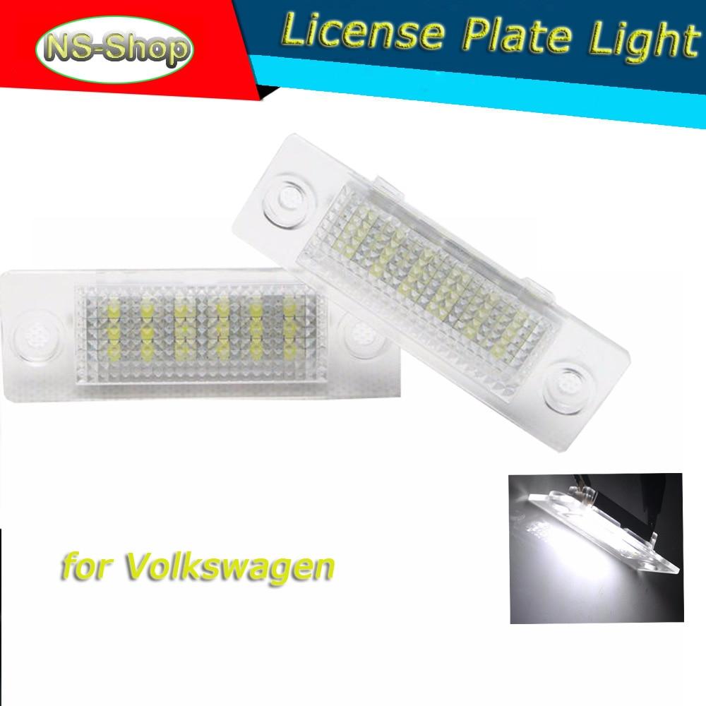 18SMD Rear LED Number License Plate Light For Volkswagen VW Golf Plus Jetta Passat B6 3BG Touran Caddy T5 Sk oda Superb No error