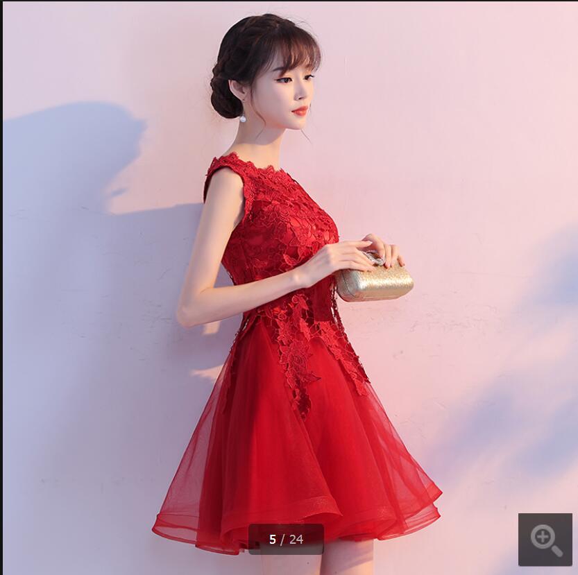 2017 recién llegado de encaje rojo corto vestido de fiesta sin ...