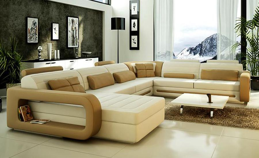 Sofa Modern Design Hot Sale Top Grain leather Sofas Corner Couches with comfortable Chaise