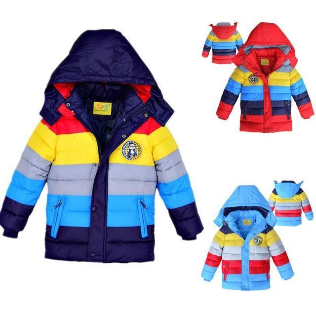 Новый 2017 Зима мальчиков Пальто И Пиджаки Детская Зима Теплая Полосатый цвет Вниз Теплая Куртка, Детские Мальчики девочки Мода теплая одежда