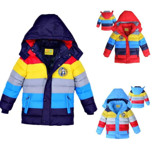 new 2017 Winter baby boys Coats Outwear Children Winter Warm Striped color Down Warm Jacket,Baby Boys girls Fashion warm clothes