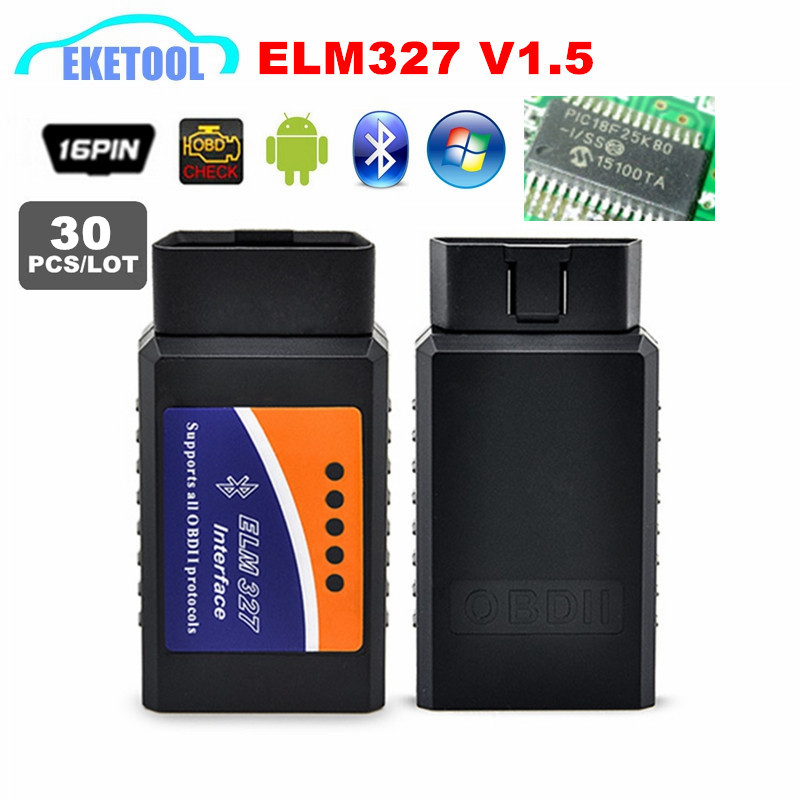 30 unids/lote lector de código OBD ELM327 V1.5 OBD2 interfaz Android Bluetooth estable PIC18F25K80 V1.5 ELM 327 escáner envío gratis Nuevo escáner Mini ELM327 Bluetooth V1.5 OBD2, escáner de diagnóstico de coche para Android ELM 327 V 1,5 OBDII OBD 2, herramienta de diagnóstico automático