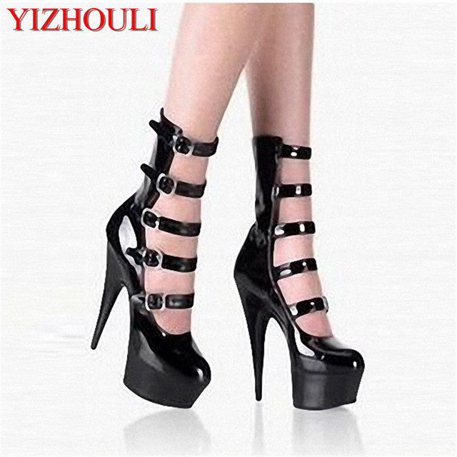 15cm Hot Sale sexy ladies high heel hollow out shoes fashion buckle-strap  boots pumps shoes women s ankle boots 5857aeb741d0