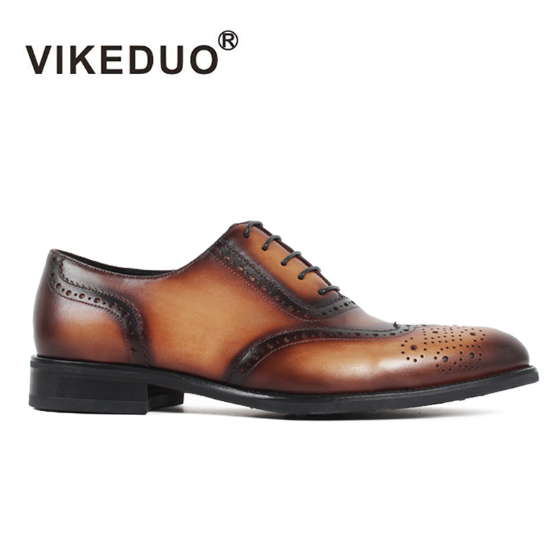 2019 Vikeduo Vintage Mens Oxford Shoes Customized Genuine Leather Handmade Wedding Party Dress Shoe Formal Full Brogue Footwear