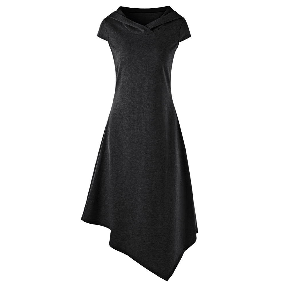 Gothic Style Asymmetrical Hooded Cut Out Women Dress Summer Hooded Short Sleeves Dresses Vestido De Festa 4 Colors 3