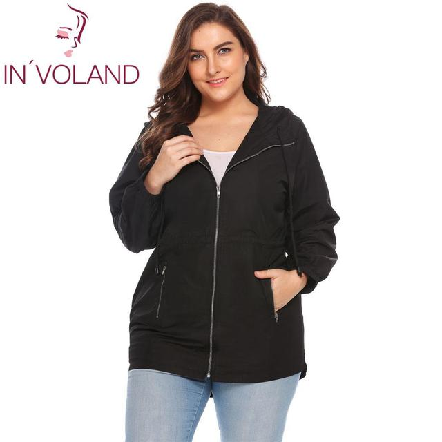 IN VOLAND Women Jacket Plus Size L-3XL 2018 Spring Autumn Casual Hooded Long  Sleeve Outwear Loose Large Rain Coat Oversized 4b806c24908c